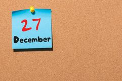 December 27th. Day 27 of month, Calendar on cork notice board. New year at work concept. Empty space for text Royalty Free Stock Image