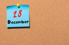 December 28th. Day 28 of month, Calendar on cork notice board. New year at work concept. Empty space for text Royalty Free Stock Images