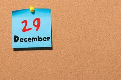 December 29th. Day 29 of month, Calendar on cork notice board. New year at work concept. Winter time. Empty space for. Text Stock Photography