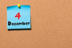 December 4th. Day 4 of month, Calendar on cork notice board. Winter time. Empty space for text Royalty Free Stock Photo