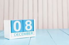 December 8th. Day 8 of month, calendar on wooden background. Winter time. Empty space for text Royalty Free Stock Photo