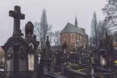 Historic Cemetery and Chapel in Ghent, Belgium stock photo