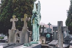 Cemetery Angel and Crosses in Ghent Stock Photos