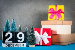December 29th. Image 29 day of december month, calendar at christmas and new year background with gifts and little. Christmas tree Stock Image