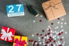December 27th. Image 27 day of december month, calendar at christmas and new year background with gifts Royalty Free Stock Photo