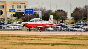 Navy T6 Texas preparing to take off. royalty free stock images