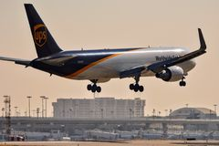 UPS Boeing 767 coming in for a landing stock image