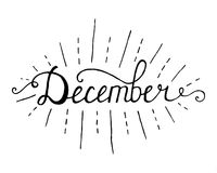 December. Typographic Design. Black Hand Lettering Text Isolated on White Background. For Housewarming Posters, Greeting Cards Royalty Free Stock Image