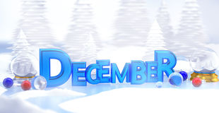 December Typography 3D Winter Landscape Stock Image