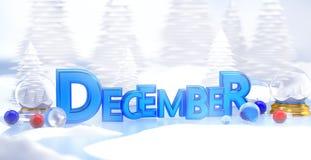 December Typography 3D Winter Landscape Stock Image