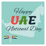 2 December. UAE Independence Day map background and national flag.  Royalty Free Stock Images
