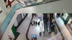 December 10, 2017 Ukraine Kiev, people escalator consumer in the shopping center. December 10, 2017 Ukraine Kiev people in the shopping center consumer escalator stock video