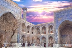 December 2018, Uzbekistan, Samarkand, Registan Square, Madrasa Sherdor `Resident of the Lions`. Whith symbol of power depicted on the portal - leopards with the stock image