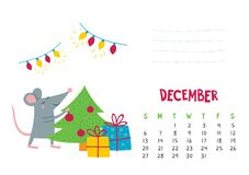Free December. Vector Calendar Page With Cute Christmas Rat - Chinese Symbol Of 2020 Stock Photography - 158219732