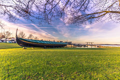 December 04, 2016: A viking longboat at the Viking Ship Museum o. F Roskilde, Denmark Royalty Free Stock Image