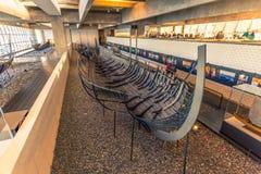 December 04, 2016: A viking longship inside the Viking Ship Muse Royalty Free Stock Photo