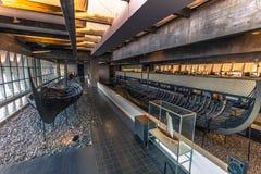 04 december, 2016: Viking-schepen binnen Viking Ship Museum van Stock Afbeelding
