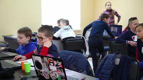 Class training of programmers. Education of children and teenagers. C stock video footage