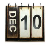December 10. With vintage calendar on white background royalty free stock photography