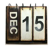 December 15. With vintage calendar on white background stock images