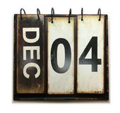 December 4. With vintage calendar on white background stock photos