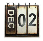 December 2. With vintage calendar on white background stock image