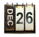 December 26. With vintage calendar on white background royalty free stock photo