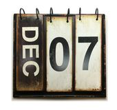 December 7. With vintage calendar on white background royalty free stock images