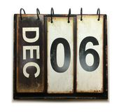 December 6. With vintage calendar on white background stock photography