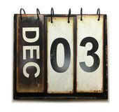 December 3. With vintage calendar on white background royalty free stock photography