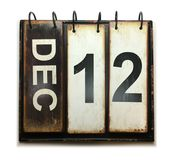 December 12. With vintage calendar on white background stock photography