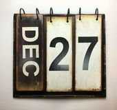 December 27. With vintage calendar stock photo