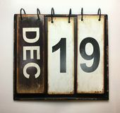 December 19. December 16 with vintage calendar stock photography