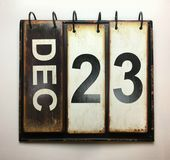 December 23. With vintage calendar royalty free stock image