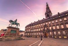 02 december, 2016: Voorgevel van Christianborg-paleis in Kopenhagen, Stock Fotografie