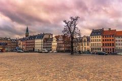 05 december, 2016: Voorgevel van typische Deense gebouwen in Copenha Stock Foto's