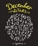 December wishes handwritten font with swirls Stock Photos