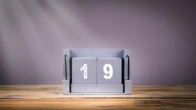 19 December wooden calendar in motion. 19 December. wooden calendar in motion. communication and marketing background stock video footage
