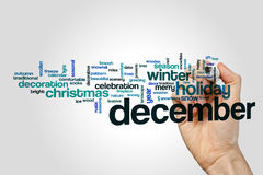 December word cloud concept on grey background Stock Photos