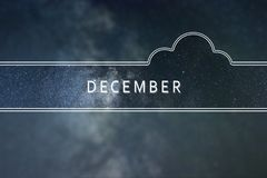 DECEMBER word cloud Concept. Space background. DECEMBER word cloud Concept royalty free stock images