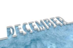 December word cutout in ice. December word. Cutout text on white background. Blue sea waters. 3D rendering Royalty Free Stock Photo