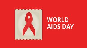 December world AIDS day. Background with red ribbon and condom. With text: `World AIDS Day`. Vector illustration Stock Illustration