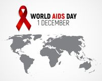 December 1 World AIDS Day Background. Red Ribbon Sign. Vector Illustration Stock Photography