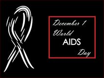 December 1, World AIDS Day on a black background. December 1 World AIDS Day on a black background Stock Image