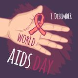 December world aids day concept background, hand drawn style royalty free illustration
