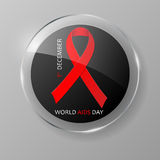 December World Aids Day glass button. 1 December World Aids Day glass button. Vector illustration Royalty Free Stock Photo