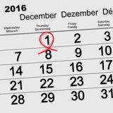 December 1, 2016 World AIDS Day. Red ribbon symbol. Calendar date reminder Stock Images