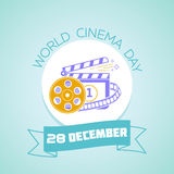 28 December World cinema day. Calendar for each day on December 28. Greeting card. Holiday - World cinema day. Icon in the linear style Royalty Free Stock Photography