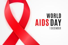1 of December is a worldwide National Awareness Day of HIV infections and solidarity for the AIDS victims.  stock illustration