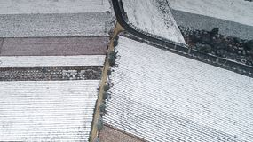 Aerial photography of the snowy scenery of ten thousand mu tea garden in Xuancheng, Anhui Province, China. On December 9, 2018, in Xuancheng, Anhui Province royalty free stock photo
